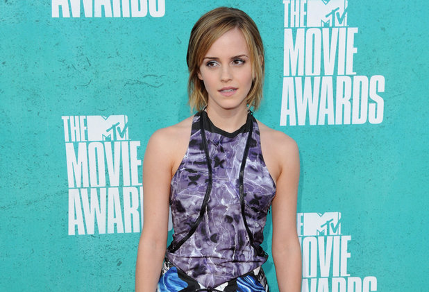 Emma Watson on the red carpet at the MTV Movie Awards 2012