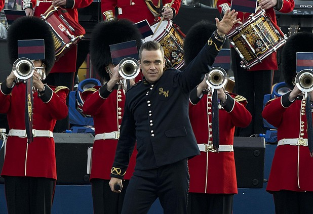 Robbie Williams on stage outside Buckingham Palace during the Diamond Jubilee Concert.