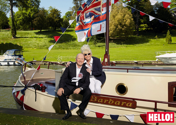 Steve McFadden and Barbara Windsor fly the flag for the RNLI at Diamond Jubilee Thames Pageant.
