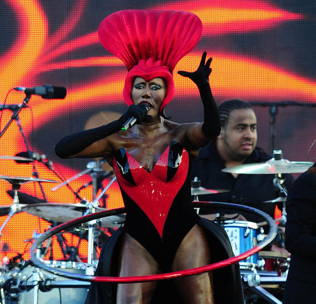 Grace Jones on stage outside Buckingham Palace during the Diamond Jubilee Concert.