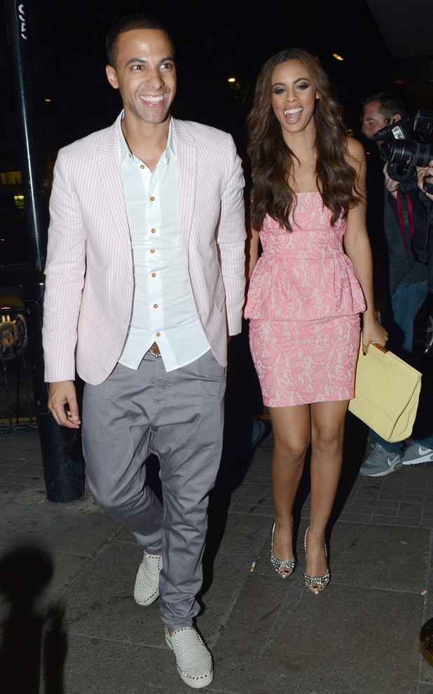 Marvin Humes and Rochelle Wiseman leaving the Rose Nightclub, London.