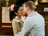 Alicia and David share their first kiss in the pub