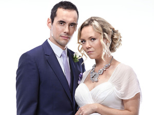 Steve John Shepherd and Charlie Brooks as Michael Moon and Janine Butcher in EastEnders