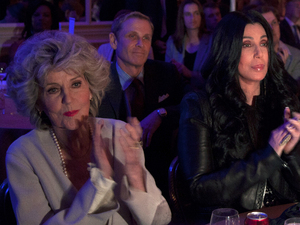 Cher (C) with mother Georgia Holt (L) watching Barack Obama speaking at the Beverly Wilshire Hotel - June 6, 2012