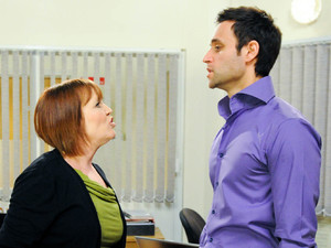 Brenda storms into the factory and confronts Nikhil over his proposal to Gennie