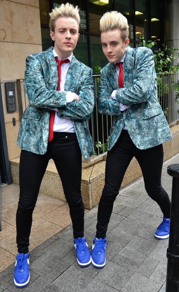 Jedward outside the Today FM radio station, Dublin.