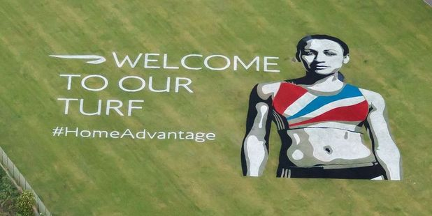 British Airways has created a giant image of heptathlete Jessica Ennis on Thornbury Playing Fields on the flightpath to Heathrow