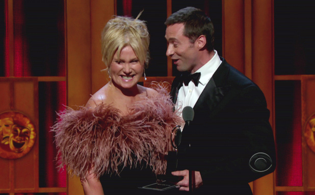 Deborra-Lee Furness and Hugh Jackman during the 66th Annual Tony Awards