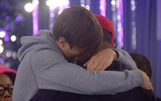 Big Brother Day 7: Arron and Chris hug.