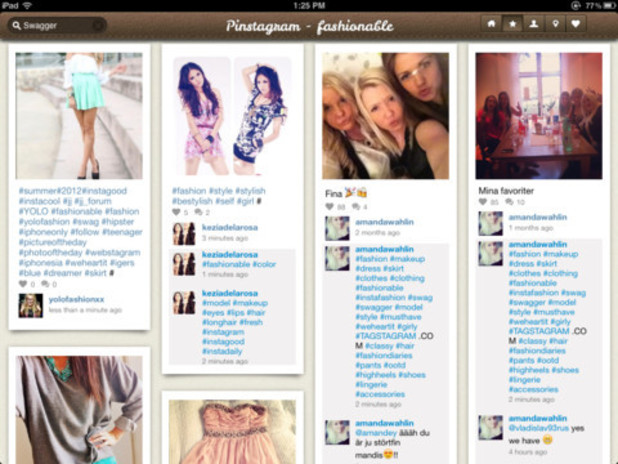 Pinstagram mashup app screenshot
