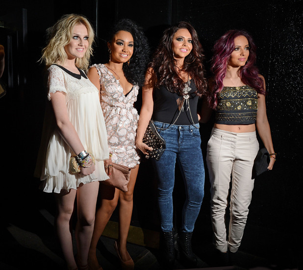 L-R Perrie Edwards, Leigh-Anne Pinnock, Jesy Nelson and Jade Thirwell of Little Mix, leaving the Rose Club. London