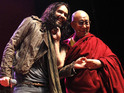 The Buddhist leader meets the British comedian at an event in Manchester.