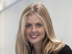 Donna Air sat on a Babybel spacehopper for Barnado's