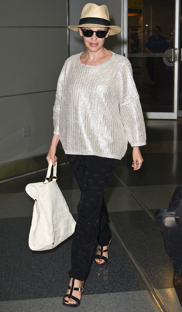 Kylie Minogue arriving at JFK International Airport on a flight from L.A.
