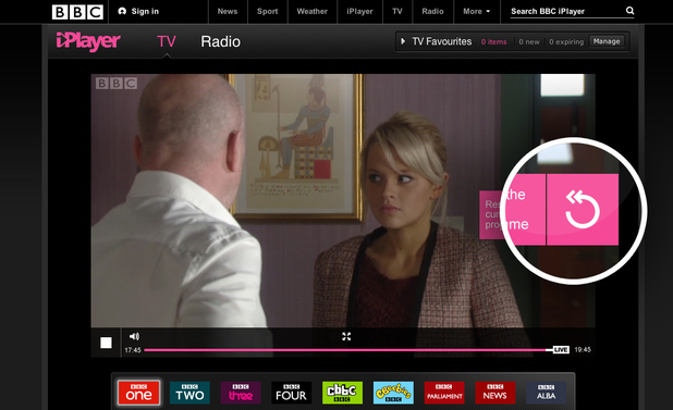 BBC iPlayer live restart button