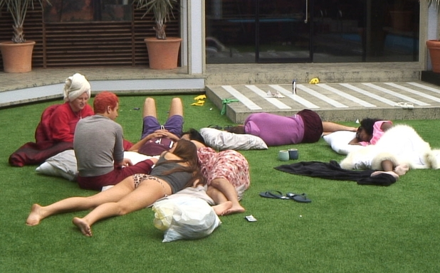 Big Brother Day 19: Housemates in the garden.