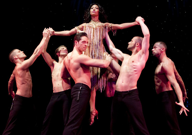 Karen Hauer with the cast of 'Burn the Floor'