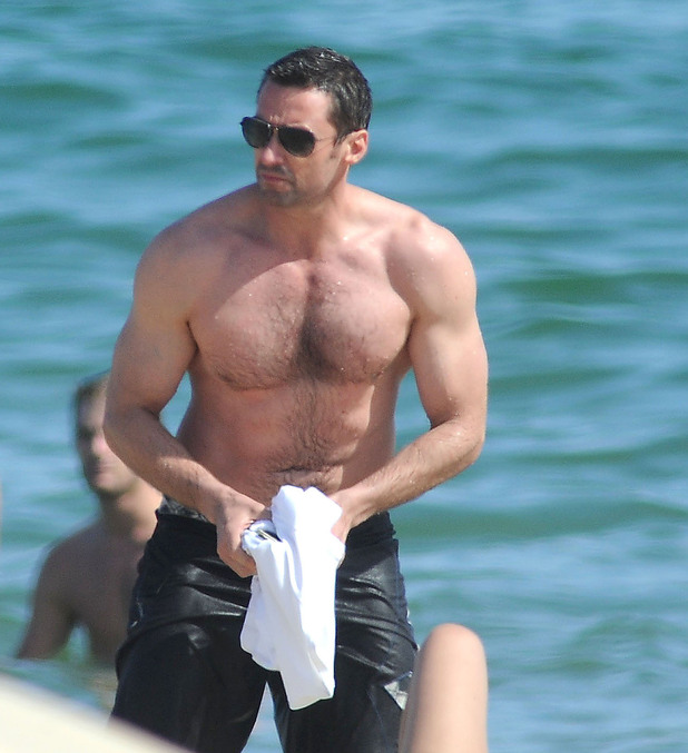 Hugh Jackman on holiday at the beach with family