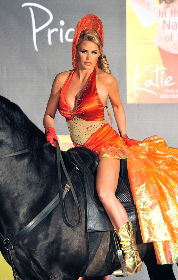 Katie Price poses on a horse for book launch