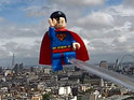 LEGO Superman flies above London as part of LEGO Batman 2: DC Super Heroes's launch.