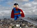 LEGO Superman flies above London as part of LEGO Batman 2: DC Super Heroes's launch.