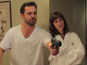New Girl stars play couple who have sex in someone else's bed.