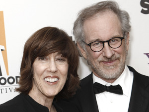 Nora Ephron poses with Steven Spielberg at the 13th Annual Hollywood Awards Gala in 2009