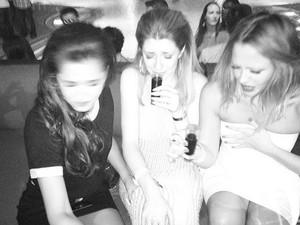 Nicola Roberts, Cheryl Cole and Kimberly Walsh enjoying Cheryl's birthday.