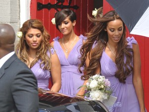 Vanessa, Frankie and Rochelle emerge from the church looking lovely in lilac.