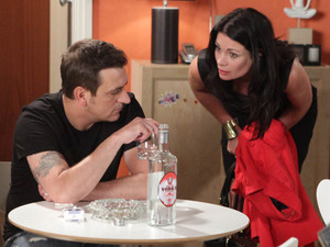 Carla is already in a foul mood when she arrives back at the flat to find Peter drunk and loses it