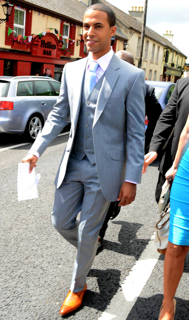 Marvin Humes arrives for the nuptials.