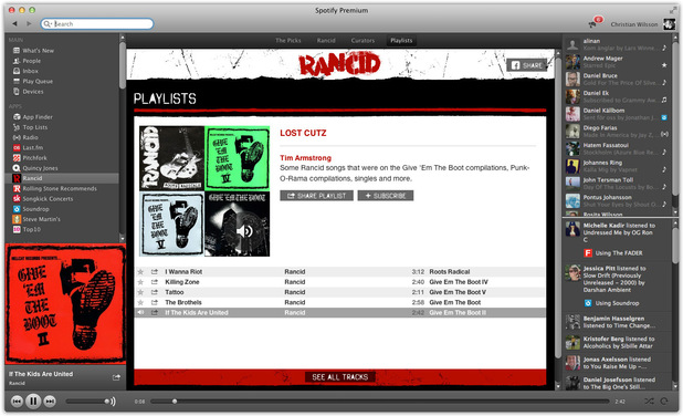 Rancid Spotify app