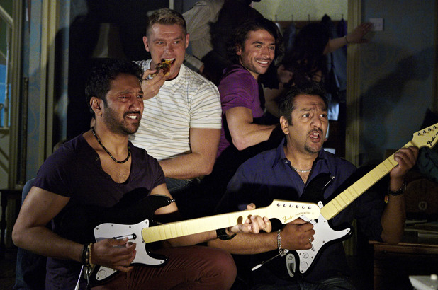 The boys enjoy their night in at the Masood's......