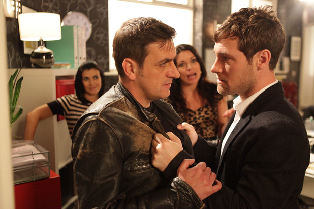 After Peter verbally attacks Carla and accuses her of getting her priorities wrong, a mysterious man enters the factory and confronts Peter, telling him to lay off Carla