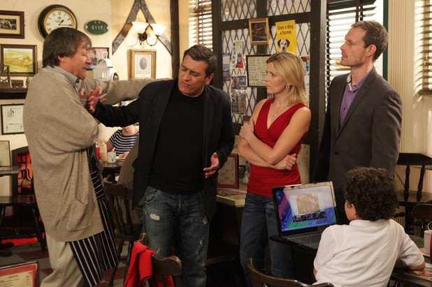 Peter pushes Roy away who threatens to call the police. Leanne and Nick are shocked as they watch Peter