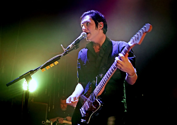 Brian Molko of Placebo performing at the Liverpool Olympia. Liverpool, England- 26.04.12 Mandatory Credit: Sakura/WENN.com