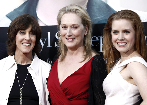 "Director and writer Nora Ephron, left, cast members Meryl Streep, center, and Amy Adams pose together at the premiere of ""Julie and Julia"" in Los Angeles on Monday, July 27, 2009."
