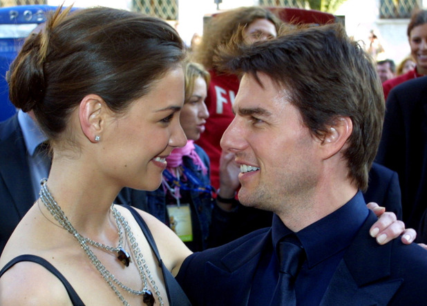 Tom Cruise and Katie Holmes publicly together in April 2005 in Italy as Tom receives a Lifetime Achievement Award