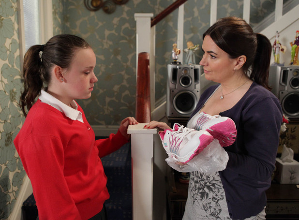 Anna finds out that Faye has dumped her new trainers in the bin