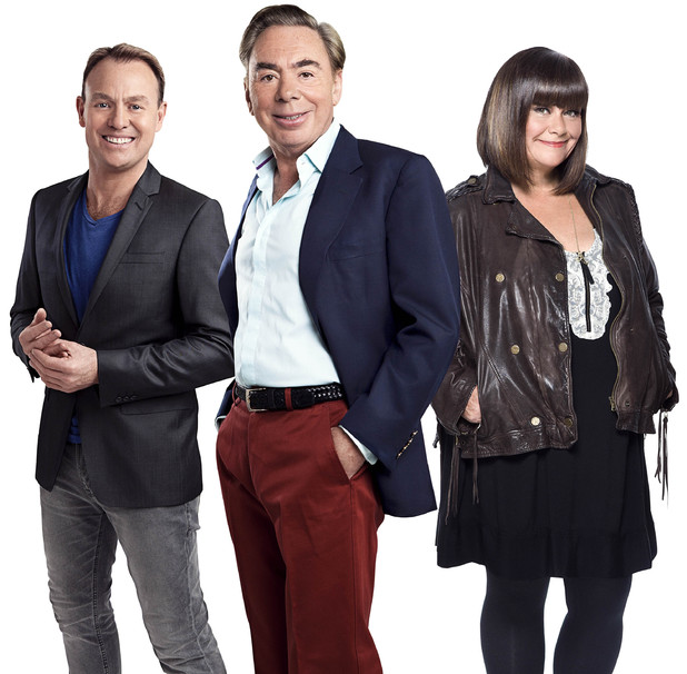 Judges of ITV1's Superstar - Jason Donovan, Andrew Lloyd Webber and Dawn French