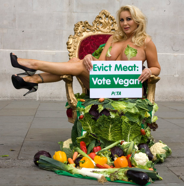 First Big Brother evictee Victoria Eisermann in Trafalgar Square for PETA's 'Evict Meat: Vote Vegan' campaign
