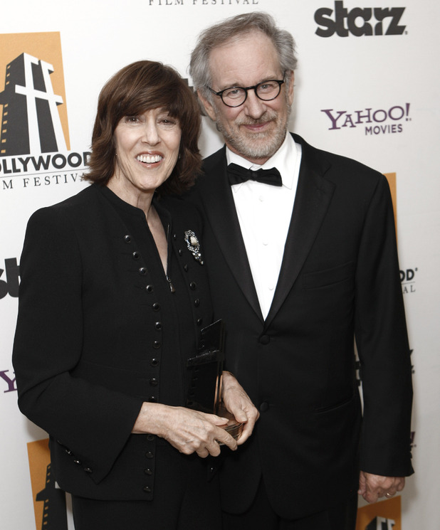 Nora Ephron poses with Steven Spielberg