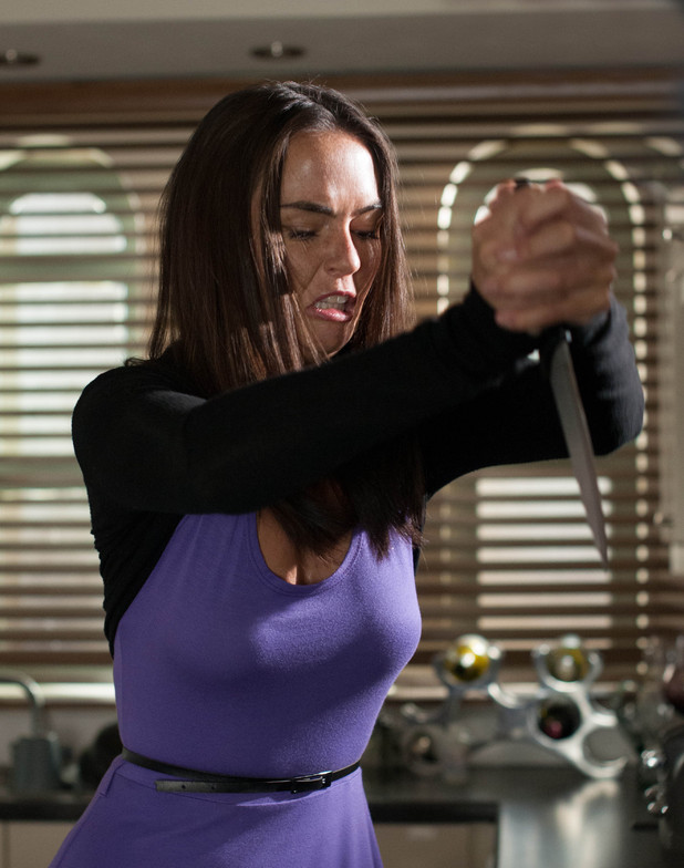 Mercedes McQueen stabs herself in Hollyoaks