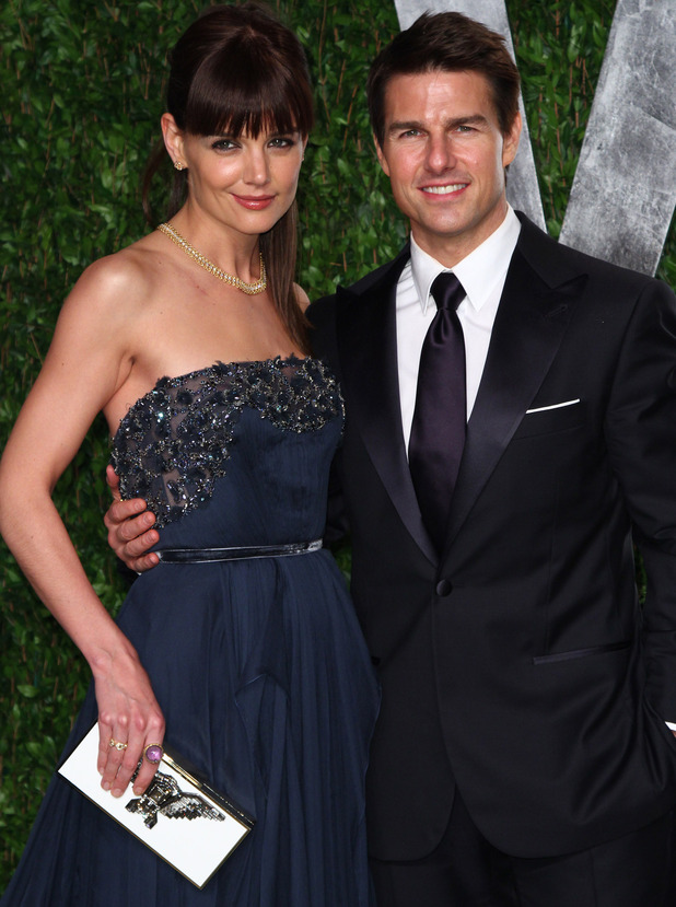 Tom Cruise and Katie Holmes at the 2012 Vanity Fair Oscar Party in February