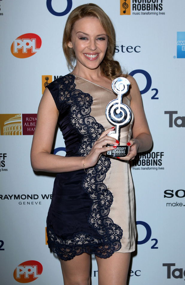 Kylie Minogue at the Hilton Hotel in London, for the Nordoff Robbins O2 Silver Clef Awards.