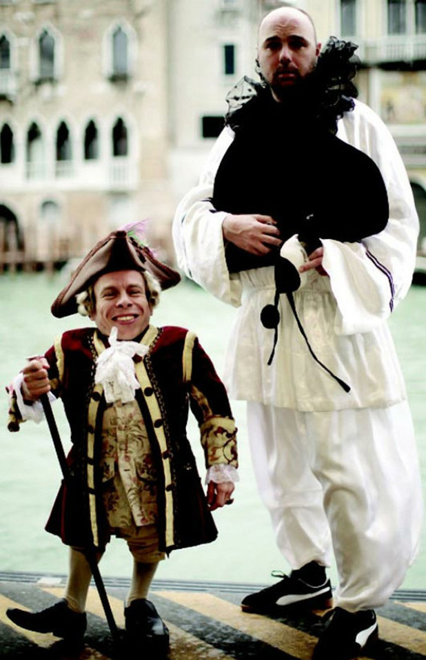 Karl Pilkington and Warwick Davis in Venice