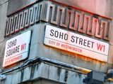 Soho Square and Soho Street signs, London