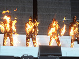 Westlife (Kian Egan, Shane Filan, Mark Feehily, Nicky Byrne), on fire on stage Westlife play their penultimate concert at Croke Park in Dublin, Ireland. The band will give its final ever show on Saturday