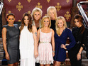 Jennifer Saunders and Judy Craymer pose with The Spice Girls during a photocall at the St Pancras Renaissance Hotel in London to launch Viva Forever