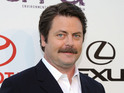 Nick Offerman discusses Megan Mullally's guest spots on Parks and Recreation.